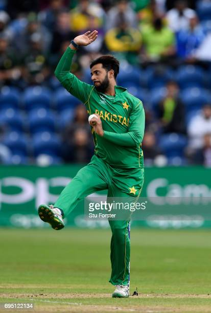Pakistan bowler Imad Wasim in action during the ICC Champions League match between Sri Lanka and Pakistan at SWALEC Stadium on June 12 2017 in...