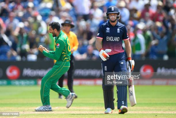 Pakistan bowler Junaid Khan celebrates after dismissing Jos Buttler during the ICC Champions Trophy semi final between England and Pakistan at SWALEC...