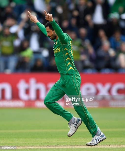 Pakistan bowler Junaid Khan celebrates after dismissing Perera during the ICC Champions League match between Sri Lanka and Pakistan at SWALEC Stadium...