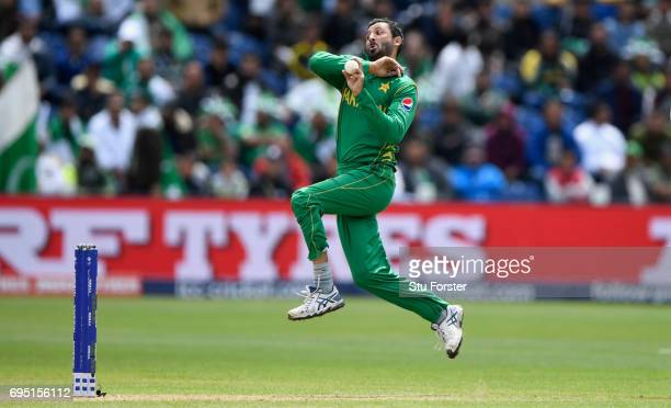 Pakistan bowler Junaid Khan in action during the ICC Champions League match between Sri Lanka and Pakistan at SWALEC Stadium on June 12 2017 in...