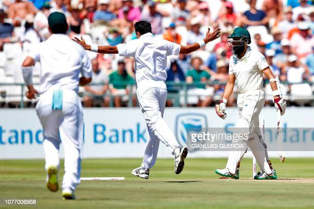 Pakistan bowler Mohammad Abbas celebrates the dismissal of South African batsman Hashim Amla during the second day of the second Cricket Test match...