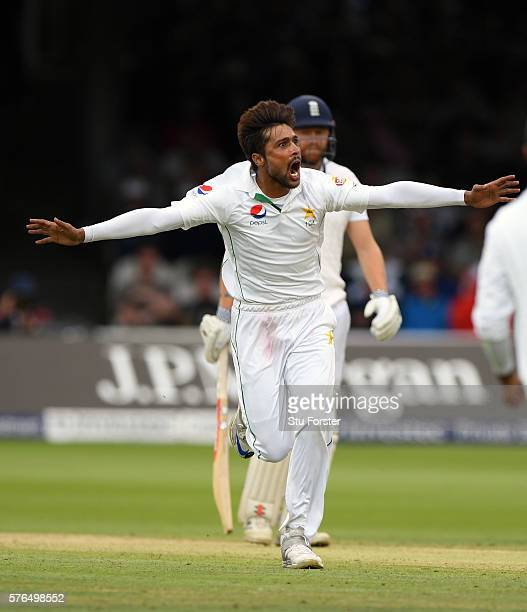 Pakistan bowler Mohammad Amir celebrates after dismissing Alastair Cook during day two of the 1st Investec Test match between England and Pakistan at...