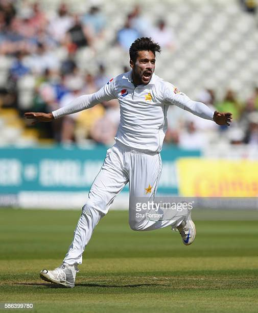 Pakistan bowler Mohammad Amir celebrates after dismissing England batsman Alex Hales during day 4 of the 3rd Investec Test match between England and...