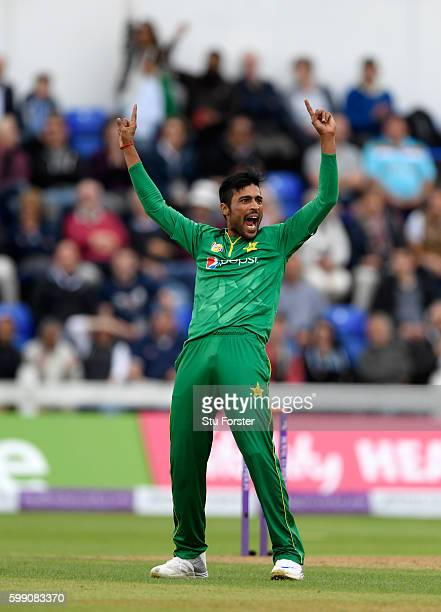 Pakistan bowler Mohammad Amir celebrates after dismissing Jason Roy during the 5th One Day International between England and Pakistan at Swalec...