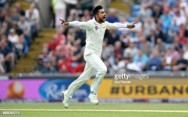 Pakistan bowler Mohammad Amir celebrates after dismissing Joe Root during day two of the second test match between England and Pakistan at Headingley...