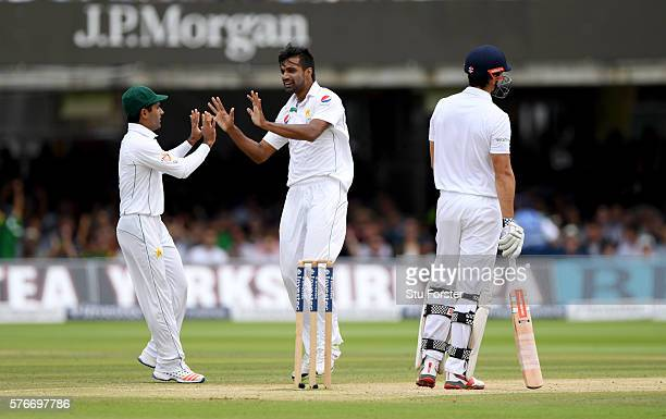 Pakistan bowler Rahat Ali celebrates after dismissing Alastair Cook during day four of the 1st Investec Test match between England and Pakistan at...
