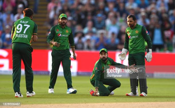 Pakistan bowler Shadab Khan reacts after catching England batsman Lewis Gregory during the 3rd ODI between England and Pakistan at Edgbaston on July...