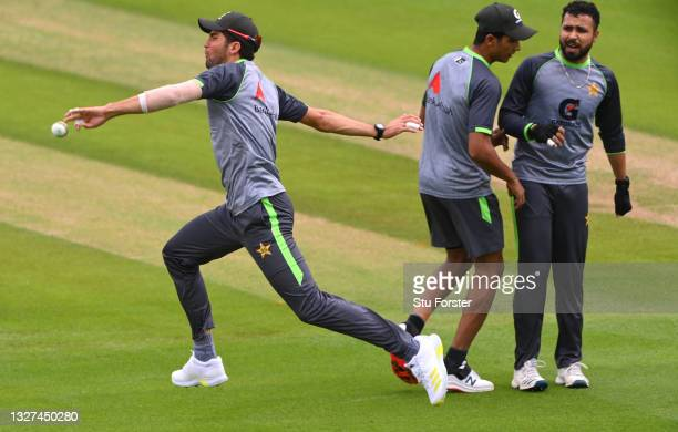Pakistan bowler Shaheen Shah Afridi in fielding action during nets ahead of the 1st ODI between England and Pakistan at Sophia Gardens on July 07,...