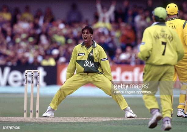 Pakistan bowler Shoaib Akhtar appeals for a wicket during the World Cup group match between Australia and Pakistan at Headingley Leeds 23rd May 1999