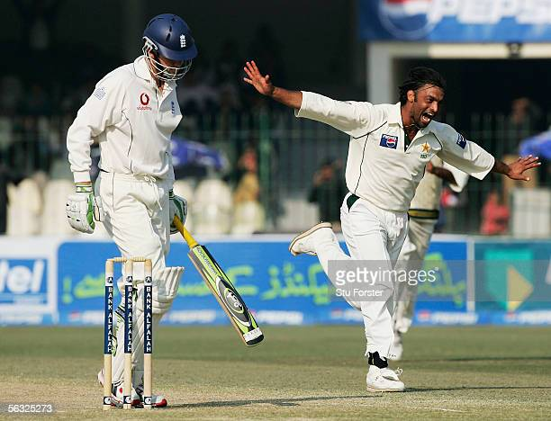 Pakistan bowler Shoaib Akhtar celebrates after taking the wicket of England batsman Liam Plunkett during the Fifth and Final Day of the Third and...
