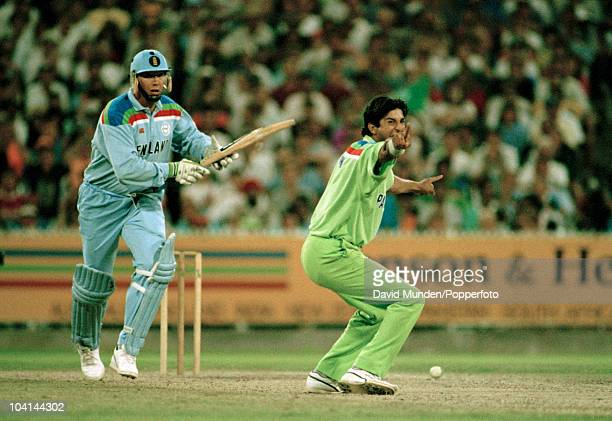 Pakistan bowler Wasim Akram appeals for LBW against England batsman Derek Pringle who was not out during the World Cup Final between Pakistan and...