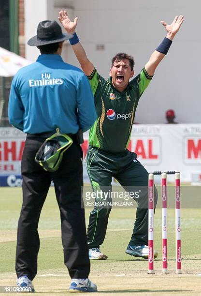 Pakistan bowler Yasir Shah appeals for a wicket during the second game in a series of three ODI cricket matches between Pakistan and host Zimbabwe at...