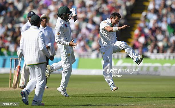 Pakistan bowler Yasir Shah celebrates after dismissing England batsman Gary Ballance during day 4 of the 3rd Investec Test match between England and...