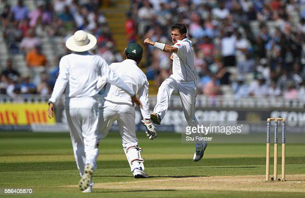 Pakistan bowler Yasir Shah celebrates after dismissing Joe Root during day 4 of the 3rd Investec Test match between England and Pakistan at Edgbaston...