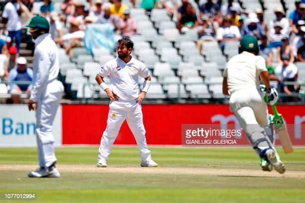 Pakistan bowler Yasir Shah reacts after bowling during the second day of the second Cricket Test match between South Africa and Pakistan at Newlands...