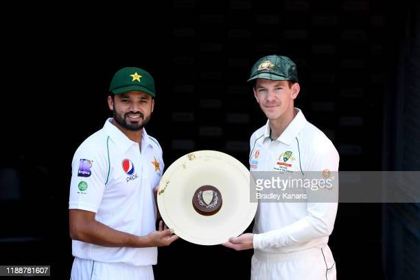 Pakistan Captain Azhar Ali and Australian Captain Tim Paine pose for a photo during a media opportunity ahead of the 1st Test between Australia and...