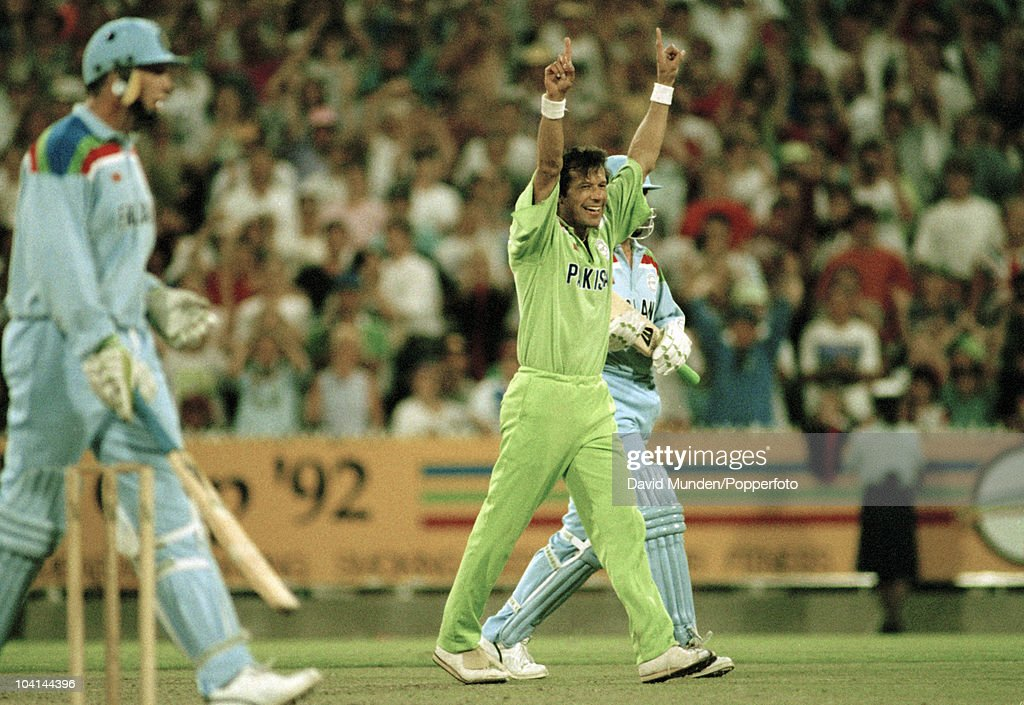 Pakistan captain Imran Khan celebrates at the end of the World Cup Final between Pakistan and England at the Melbourne Cricket Ground, 25th March 1992. Pakistan won by 22 runs.