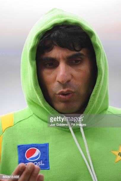 Pakistan captain Misbah ul Haq leaves the field as rain falls before the ICC Champions Trophy Warm Up match at Edgbaston Birmingham