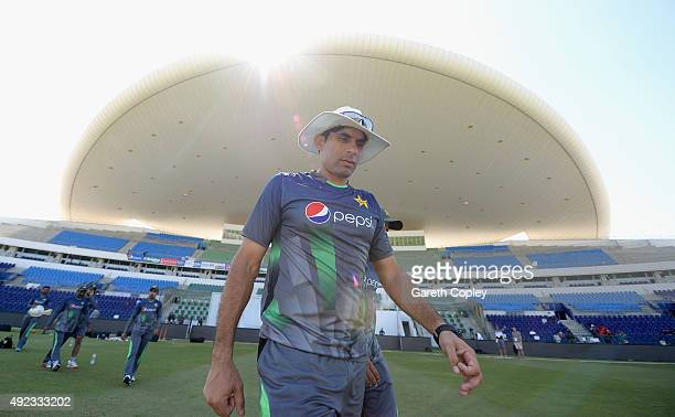Pakistan captain MisbahulHaq arrives ahead of a nets session at Zayed Cricket Stadium on October 12 2015 in Abu Dhabi United Arab Emirates