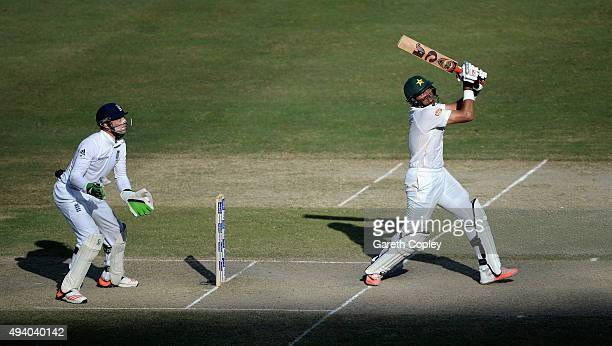 Pakistan captain MisbahulHaq bat during day three of the 2nd test match between Pakistan and England at Dubai Cricket Stadium on October 24 2015 in...