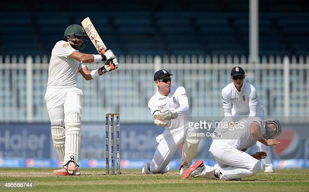 Pakistan captain MisbahulHaq bats during day four of the 3rd Test between Pakistan and England at Sharjah Cricket Stadium on November 4 2015 in...