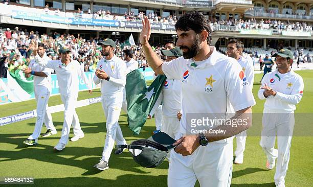 Pakistan captain MisbahulHaq leads his team on a lap of honour after winning the 4th Investec Test between England and Pakistan at The Kia Oval on...