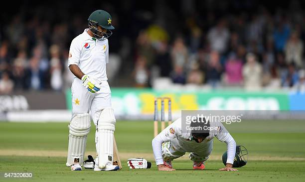 Pakistan captain MisbahulHaq performs pressups as he celebrates reaching his century during the 1st Investec Test between England and Pakistan at...