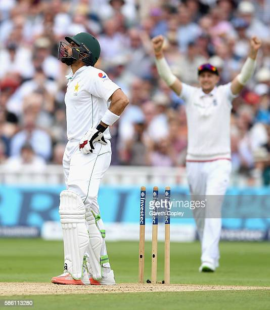 Pakistan captain MisbahulHaq reacts after being bowled by James Anderson of England during day three of the 3rd Investec Test between England and...