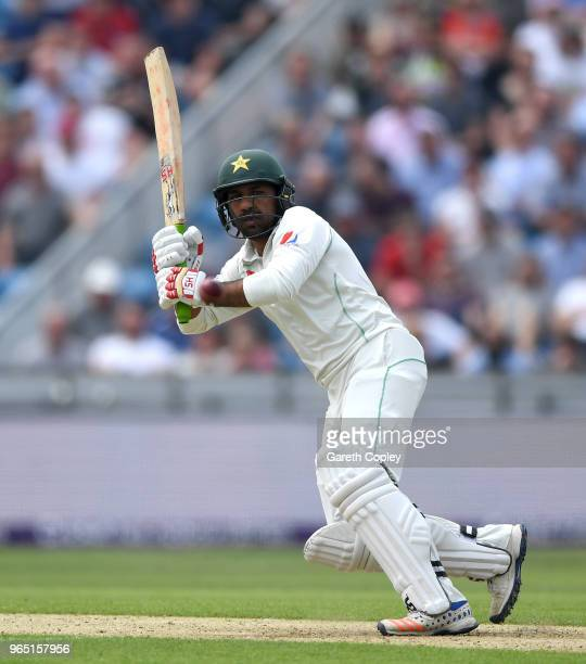 Pakistan captain Sarfraz Ahmed bats during the 2nd NatWest Test match between England and Pakistan at Headingley on June 1 2018 in Leeds England