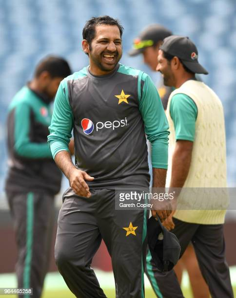 Pakistan captain Sarfraz Ahmed laughs during a nets session at Headingley on May 31 2018 in Leeds England