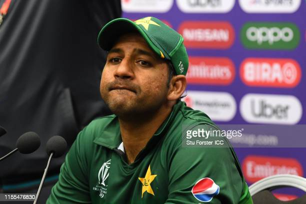 Pakistan captain Sarfraz Ahmed speaks to the media after the Group Stage match of the ICC Cricket World Cup 2019 between Australia and Pakistan at...