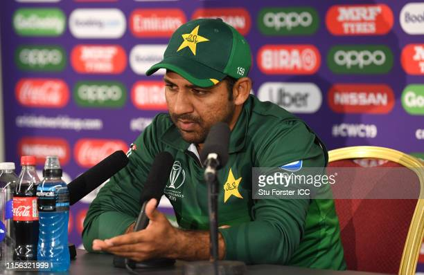 Pakistan captain Sarfraz Ahmed speaks to the media after the Group Stage match of the ICC Cricket World Cup 2019 between India and Pakistan at Old...