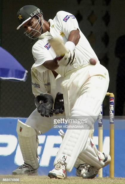 Pakistan captain Waqar Younis hits out on the third day of the first Test against Australia in Colombo 5 October 2002 Pakistan finished their first...
