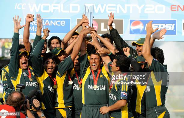 Pakistan captain Younis Khan lifts the trophy as the Pakistan team celebrates winning the ICC World Twenty20 Final between Pakistan and Sri Lanka by...