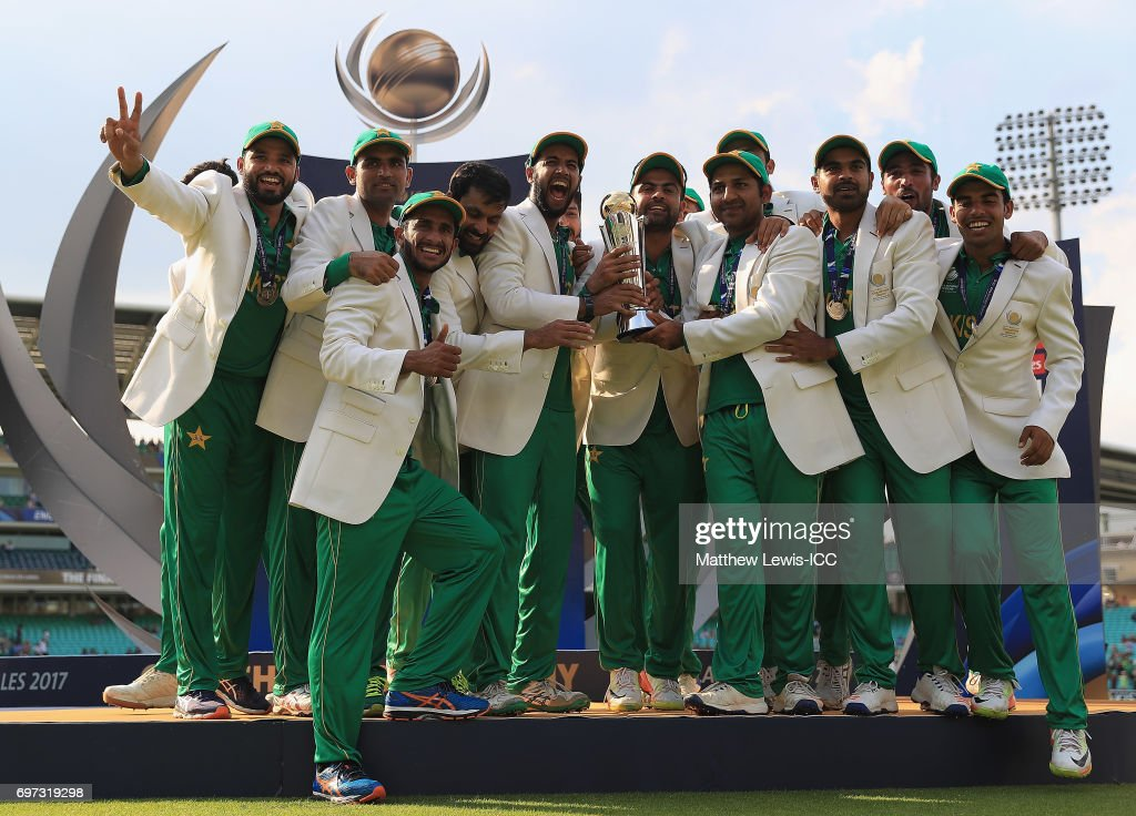 Pakistan celebrate after beating India during the ICC Champions Trophy Final between Pakistan and India at The Kia Oval on June 18, 2017 in London, England.