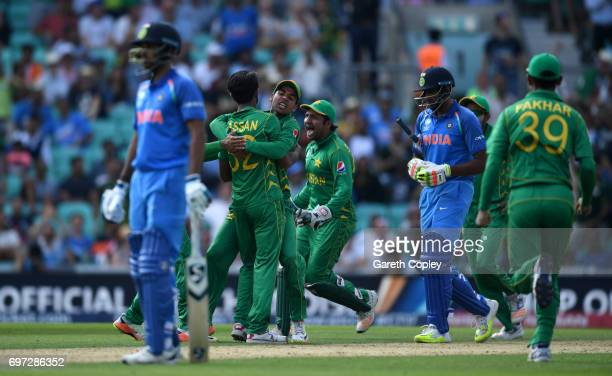 Pakistan celebrate after Hasan Ali dismisses Ravichandran Ashwin of India during the ICC Champions Trophy Final between India and Pakistan at The Kia...