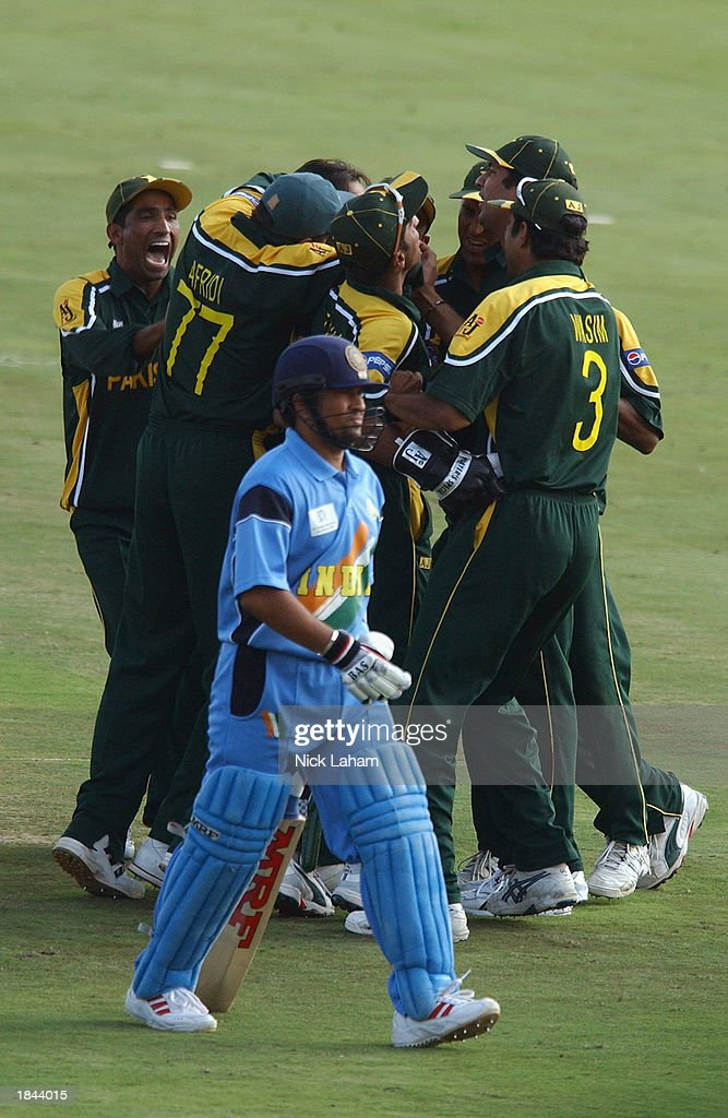 Pakistan celebrate after Shoaib Akhtar took the wicket of Sachin Tendulkar of India during the ICC Cricket World Cup 2003 Pool A match between India and Pakistan held on March 1, 2003 at the Supersport Stadium, in Centurion, South Africa. India won the match by 6 wickets.