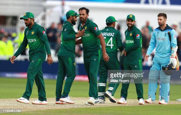 Pakistan celebrate after their victory during the Group Stage match of the ICC Cricket World Cup 2019 between England and Pakistan at Trent Bridge on...