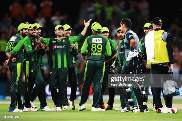 Pakistan celebrate as Ross Taylor of the Black Caps is given out during game three of the International Twenty20 match between New Zealand and...