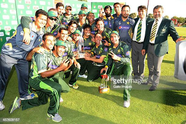 Pakistan celebrate during the 3rd One Day International match between South Africa and Pakistan at SuperSport Park on November 30, 2013 in Pretoria,...