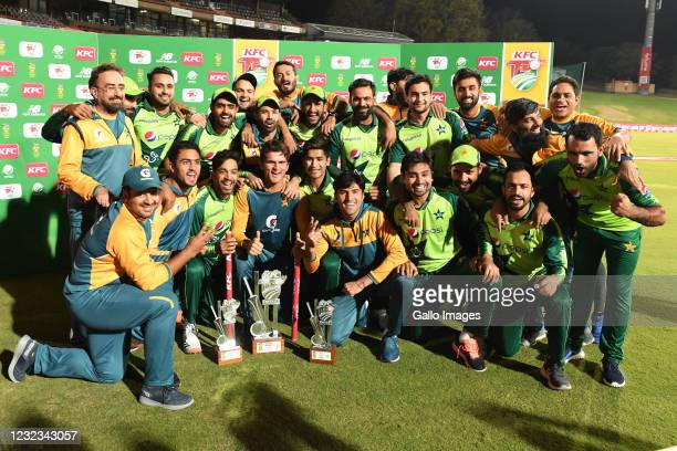 Pakistan celebrate during the 4th KFC T20 International match between South Africa and Pakistan at SuperSport Park on April 16, 2021 in Pretoria,...