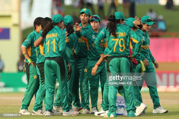 Pakistan celebrate the wicket of Alyssa Healy of Australia during the match 2 of the ICC Women's World T20. Australia Women v Pakistan Women at...