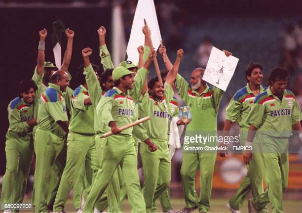 Pakistan celebrate victory in the cricket World Cup Final