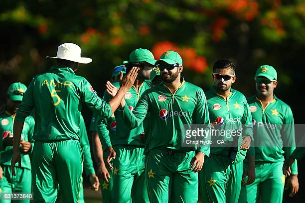 Pakistan celebrate winning the tour match between Pakistan and the CA XI at Allan Border Field on January 10 2017 in Brisbane Australia