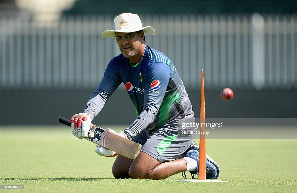 Pakistan coach Waqar Younis during a nets session at Sharjah Cricket Stadium on October 31, 2015 in Sharjah, United Arab Emirates.