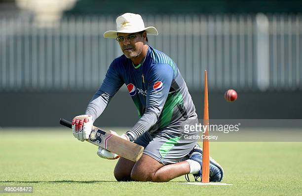 Pakistan coach Waqar Younis during a nets session at Sharjah Cricket Stadium on October 31 2015 in Sharjah United Arab Emirates