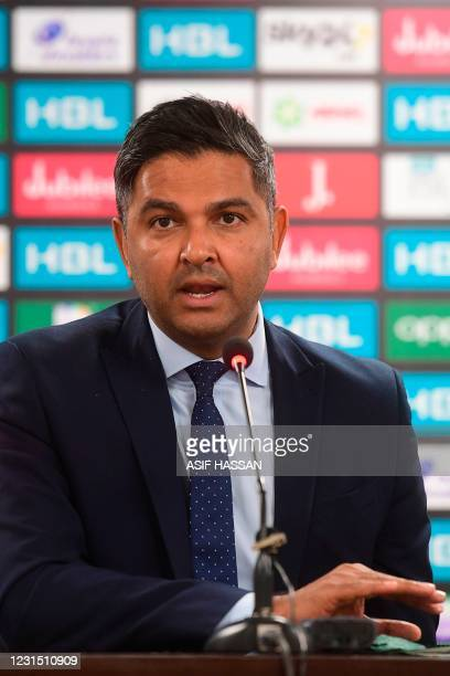 Pakistan Cricket BoardCEOWasim Khan addresses the media as the Pakistan Super League was suspended after seven players tested positive for the...