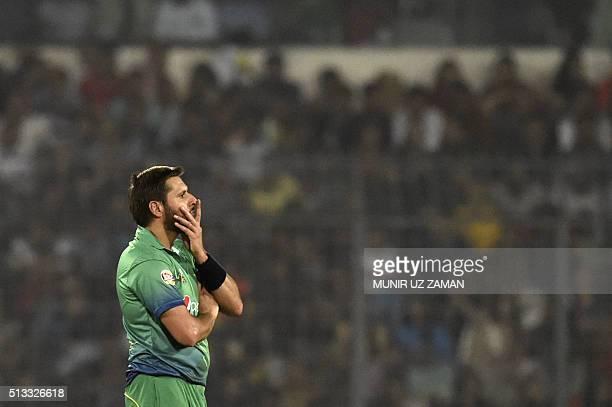 Pakistan cricket captain Shahid Afridi reacts during the Asia Cup T20 cricket tournament match between Bangladesh and pakistan at the ShereBangla...