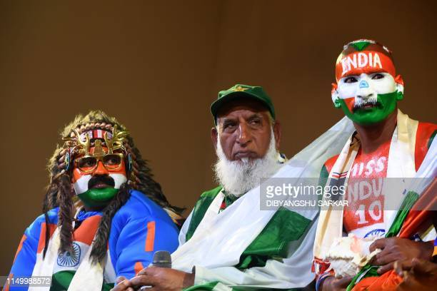 Pakistan cricket fan Chacha Cricket AKA Chacha Sufi Jalil and Indian cricket fan Sudhir Gautam attend a superfan event in Manchester on June 14 ahead...