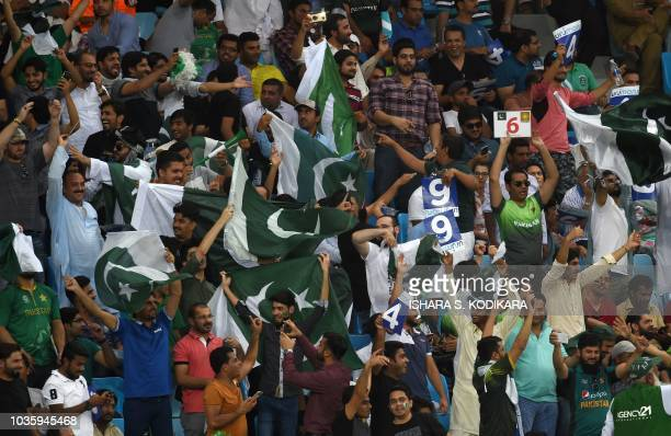 Pakistan cricket fan cheer in support of their national team during the one day international Asia Cup cricket match between Pakistan and India at...